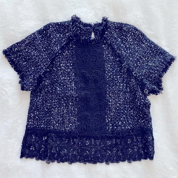 Zara short sleeve tweed top